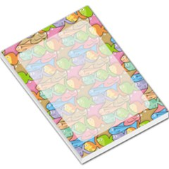 Fishes Cartoon Background Large Memo Pad