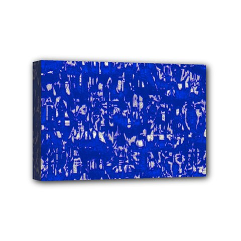 Glossy Abstract Blue Mini Canvas 6  x 4