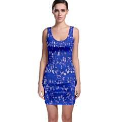 Glossy Abstract Blue Sleeveless Bodycon Dress