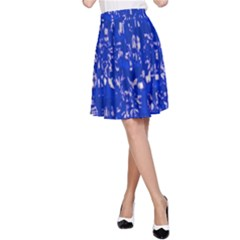 Glossy Abstract Blue A-Line Skirt
