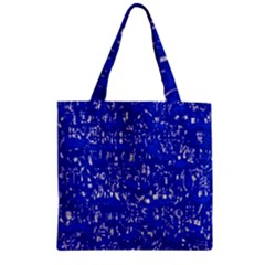 Glossy Abstract Blue Zipper Grocery Tote Bag