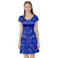 Glossy Abstract Blue Short Sleeve Skater Dress