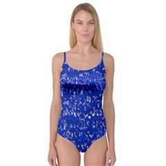 Glossy Abstract Blue Camisole Leotard