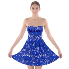 Glossy Abstract Blue Strapless Bra Top Dress
