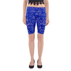 Glossy Abstract Blue Yoga Cropped Leggings