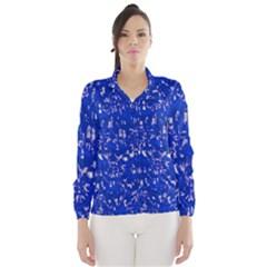 Glossy Abstract Blue Wind Breaker (Women)