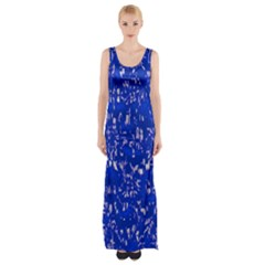 Glossy Abstract Blue Maxi Thigh Split Dress