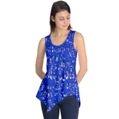 Glossy Abstract Blue Sleeveless Tunic