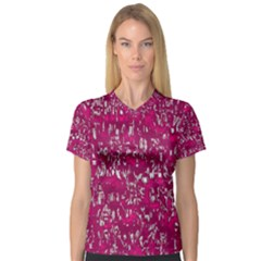 Glossy Abstract Pink Women s V-Neck Sport Mesh Tee