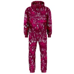 Glossy Abstract Pink Hooded Jumpsuit (Men)