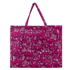 Glossy Abstract Pink Zipper Large Tote Bag