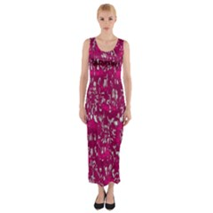 Glossy Abstract Pink Fitted Maxi Dress