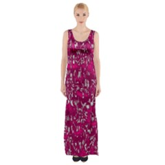 Glossy Abstract Pink Maxi Thigh Split Dress