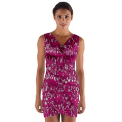 Glossy Abstract Pink Wrap Front Bodycon Dress
