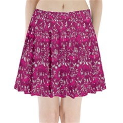 Glossy Abstract Pink Pleated Mini Skirt