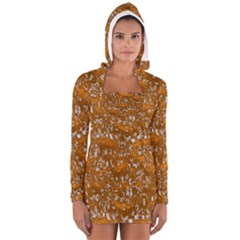 Glossy Abstract Orange Women s Long Sleeve Hooded T-shirt