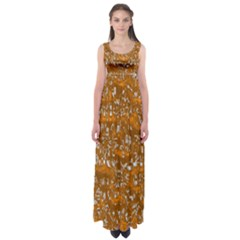 Glossy Abstract Orange Empire Waist Maxi Dress