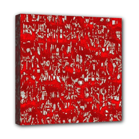 Glossy Abstract Red Mini Canvas 8  x 8