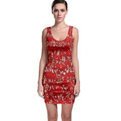 Glossy Abstract Red Sleeveless Bodycon Dress