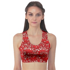 Glossy Abstract Red Sports Bra