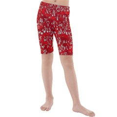 Glossy Abstract Red Kids  Mid Length Swim Shorts