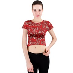 Glossy Abstract Red Crew Neck Crop Top