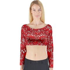Glossy Abstract Red Long Sleeve Crop Top