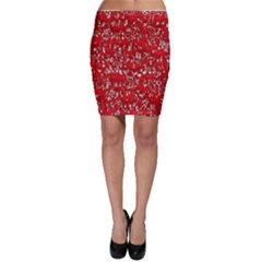 Glossy Abstract Red Bodycon Skirt