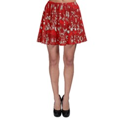 Glossy Abstract Red Skater Skirt
