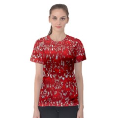 Glossy Abstract Red Women s Sport Mesh Tee