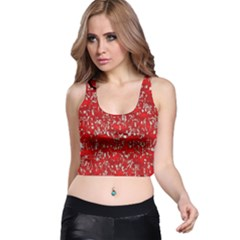 Glossy Abstract Red Racer Back Crop Top