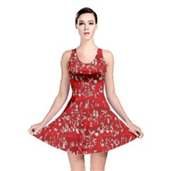 Glossy Abstract Red Reversible Skater Dress
