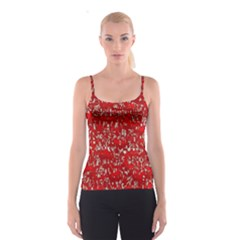 Glossy Abstract Red Spaghetti Strap Top