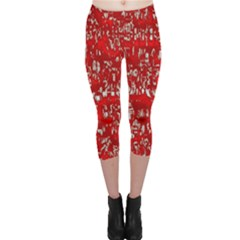 Glossy Abstract Red Capri Leggings