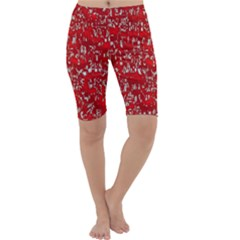 Glossy Abstract Red Cropped Leggings