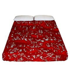 Glossy Abstract Red Fitted Sheet (California King Size)