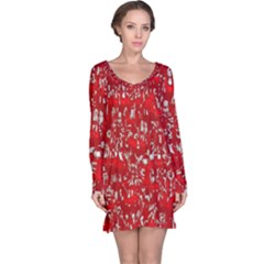 Glossy Abstract Red Long Sleeve Nightdress