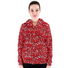 Glossy Abstract Red Women s Zipper Hoodie