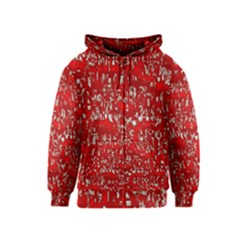 Glossy Abstract Red Kids  Zipper Hoodie