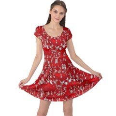 Glossy Abstract Red Cap Sleeve Dresses