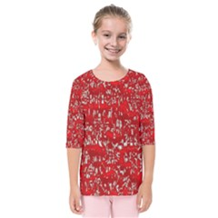 Glossy Abstract Red Kids  Quarter Sleeve Raglan Tee