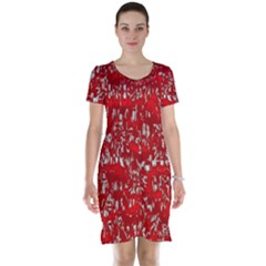 Glossy Abstract Red Short Sleeve Nightdress