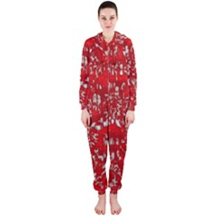 Glossy Abstract Red Hooded Jumpsuit (Ladies)