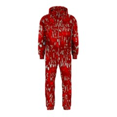 Glossy Abstract Red Hooded Jumpsuit (Kids)