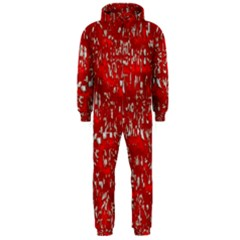 Glossy Abstract Red Hooded Jumpsuit (Men)
