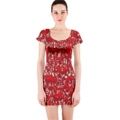 Glossy Abstract Red Short Sleeve Bodycon Dress