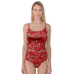 Glossy Abstract Red Camisole Leotard