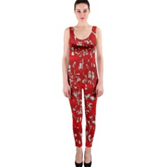 Glossy Abstract Red OnePiece Catsuit