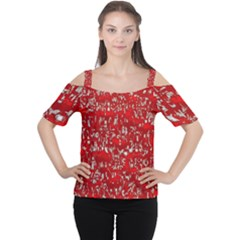 Glossy Abstract Red Women s Cutout Shoulder Tee