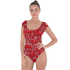 Glossy Abstract Red Short Sleeve Leotard